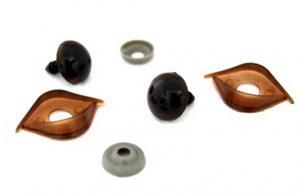 Глазки с фиксатором, веко двустороннее №10 арт.КЛ.23449 цв.коричневый 16х19 мм уп.2шт
