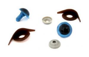 Глазки с фиксатором, веко одностороннее №12 арт.КЛ.23456 цв.голубой 18х20 мм уп.2шт