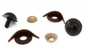 Глазки с фиксатором, веко одностороннее №13 арт.КЛ.23457 цв.коричневый 20х20 мм уп.2шт