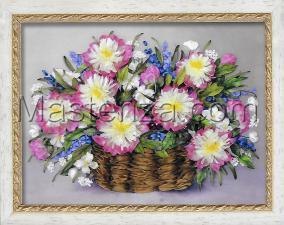 Шёлковый сад | Пионы в корзине. Размер - 40 х 29 см