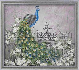 Шёлковый сад | Королевский павлин. Размер - 34 х 29 см