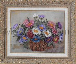 Шёлковый сад | Хризантемы в корзине. Размер - 28 х 20 см