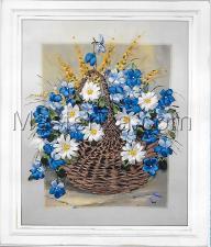 Шёлковый сад | Корзина с полевыми цветами. Размер - 28 х 37 см