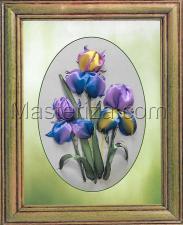 Шёлковый сад | Цветные ирисы. Размер - 20 х 28 см