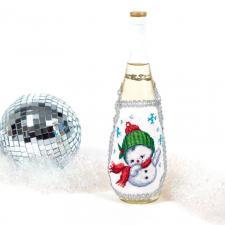 "Матрёнин Посад | Фартук на бутылку ""Задорный снеговик"""