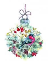"""Рисунок на шелке для вышивания бисером """"Рождественский шар"""""""