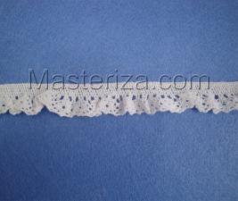 Кружевная тесьма на резинке, артикул 1583, ширина 17 мм, цвет белый