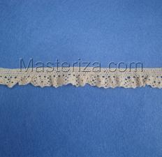 Кружевная тесьма на резинке, артикул 1583, ширина 17 мм, цвет бежевый