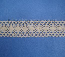 Кружевная тесьма, артикул 1612, ширина 34 мм, цвет бежевый