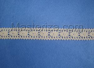 Кружевная тесьма, артикул 199-5, ширина 23 мм, цвет бежевый