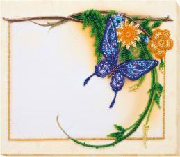 """Набор для вышивки бисером на натуральном художественном холсте """"Голубая бабочка"""". Размер - 20 х 27 см."""