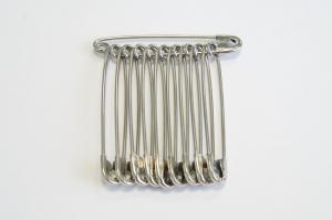 Булавки английские (безопасные),10 шт,сталь+никель,Россия