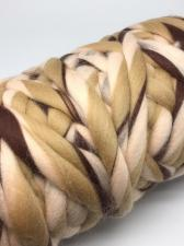Камтекс | Супер толстая пряжа, цвет 237 (белый,бежевый,коричневый), 500 г/40м