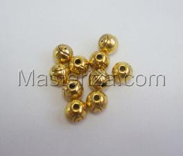 Бусины металлические (золото),КМ108,10 шт