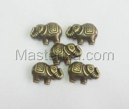 Бусины металлические (бронза),КМ115,5 шт