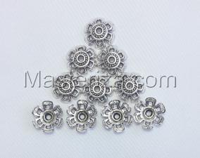 Шапочки для бусин 025,серебро,10 шт.