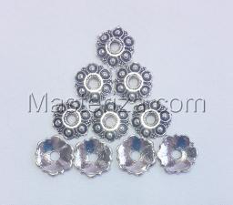 Шапочки для бусин 037,серебро,10 шт.