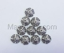 Шапочки для бусин 039,серебро,10 шт.