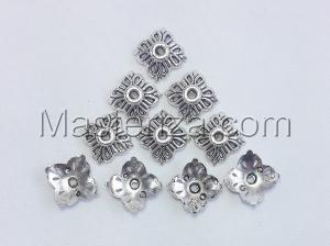 Шапочки для бусин 043,серебро,10 шт.