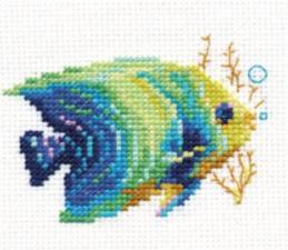 Тропические рыбки.Изумрудная. Размер - 8 х 7 см.