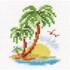 Пальмовый островок. Размер - 6 х 8 см.