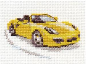 Алиса | Жёлтый спорткар. Размер - 9 х 6 см