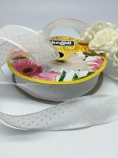 Лента декоративная в горошек, Skroll, 25 мм, модель 1005, цвет белый в белый горошек