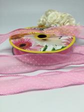 Лента декоративная в горошек, Skroll, 25 мм, модель 1005, цвет розовый в белый горошек