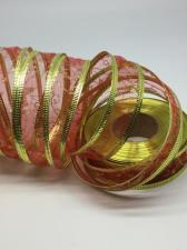 Лента органза декоративная с металлизированным краем,25 мм,цвет красный