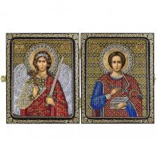 """Складень """"Св. Вмч. Целитель Пантелеймон и Ангел Хранитель""""."""