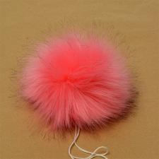 Помпон искусственный мех, песец 17-18 см, цв.ярко-розовый №1 А