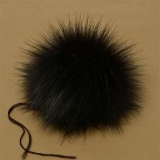 Помпон искусственный мех, песец 17-18 см, цв.чёрный №2 А
