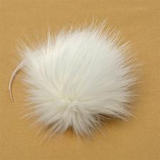 Помпон искусственный мех, песец 17-18 см, цв.белый №6 А
