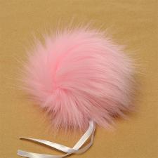 Помпон искусственный мех, песец 17-18 см, цв.нежно-розовый №23 А
