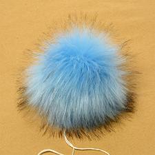 Помпон искусственный мех, песец 17-18 см, цв.светло-синий №15 А