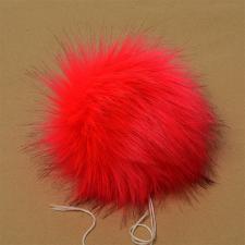 Помпон искусственный мех, песец 17-18 см, цв.ярко-красный №26 А