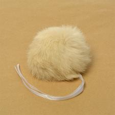 Помпон натуральный мех, кролик 10-13см, цв.молочный А