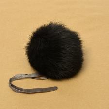 Помпон натуральный мех, кролик 10-13см, цв.чёрный А