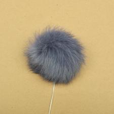 Помпон натуральный мех, кролик 7-9см, цв.серый А