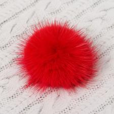 Помпон натуральный мех, норка 5см, цв.красный А