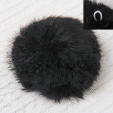 Помпон натуральный мех, заяц 10см, цв.чёрный А
