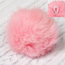 Помпон натуральный мех, заяц 8см, цв.розовый А