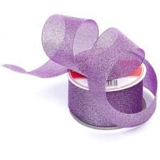 Лента атласная с люрексом,IDEAL,50 мм,цв.103 фиолетовый