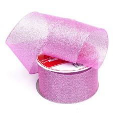 Лента атласная с люрексом,IDEAL,50 мм,цв.037 светло-розовый