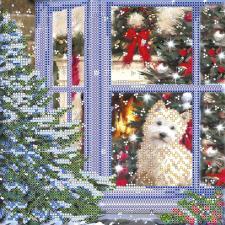 """Схема для вышивки бисером """"Рождественская история"""". Размер - 20 х 20 см."""