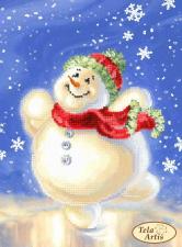 Счастливый снеговик. Размер - 17 х 24 см.