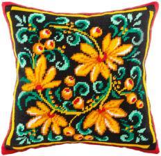 "Набор для вышивания подушки ""Хохлома"". Размер - 40 х 40 см."