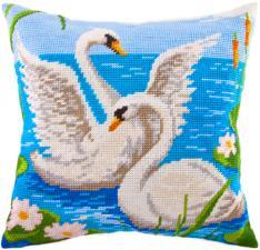 """Набор для вышивания подушки """"Лебеди"""". Размер - 40 х 40 см."""