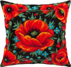 """Набор для вышивания подушки """"Маковое поле"""". Размер - 40 х 40 см."""