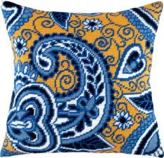 """Набор для вышивания подушки """"Лазурь и золото"""". Размер - 40 х 40 см."""